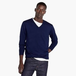 J. Crew • Navy Merino Wool V Neck Sweater